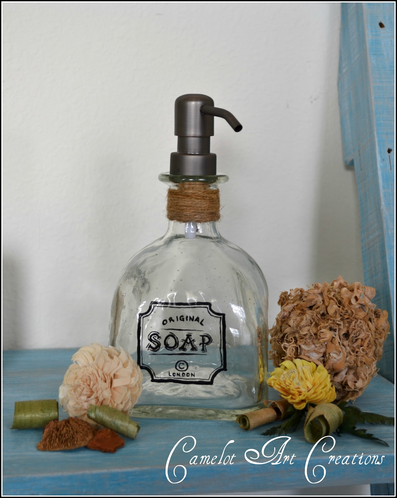 Camelot art creations up cycled soap dispensers patron for Liquor bottle art