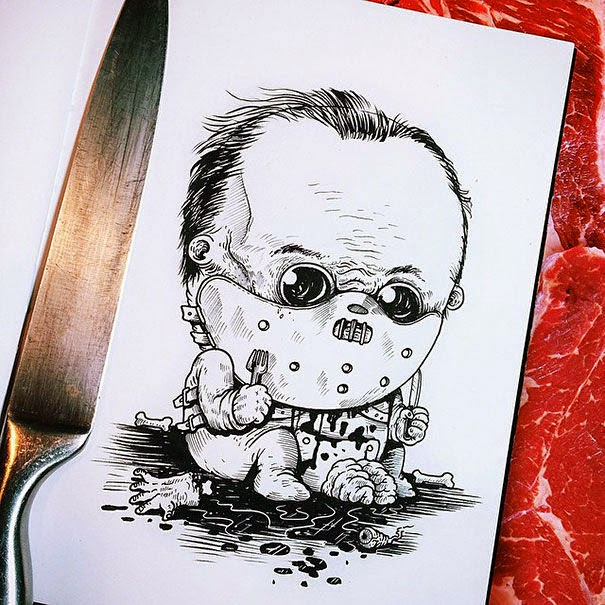 01-Hannibal-Lecter-Alex-Solis-Baby-Terrors-Drawings-Horror-Movie-Villains-www-designstack-co