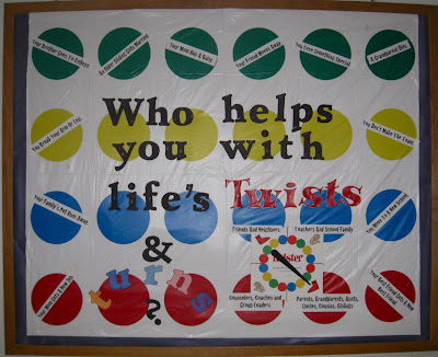 photo of bulletin board using Twister board