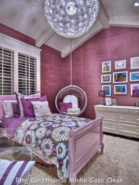 Construindo minha casa clean 15 quartos dos sonhos de for Girl purple bedroom ideas