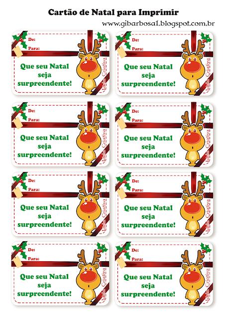 Cartões de Natal para Imprimir Grátis Rena Fofinha