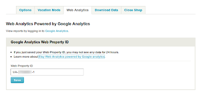 web analytics tab in etsy shop settings