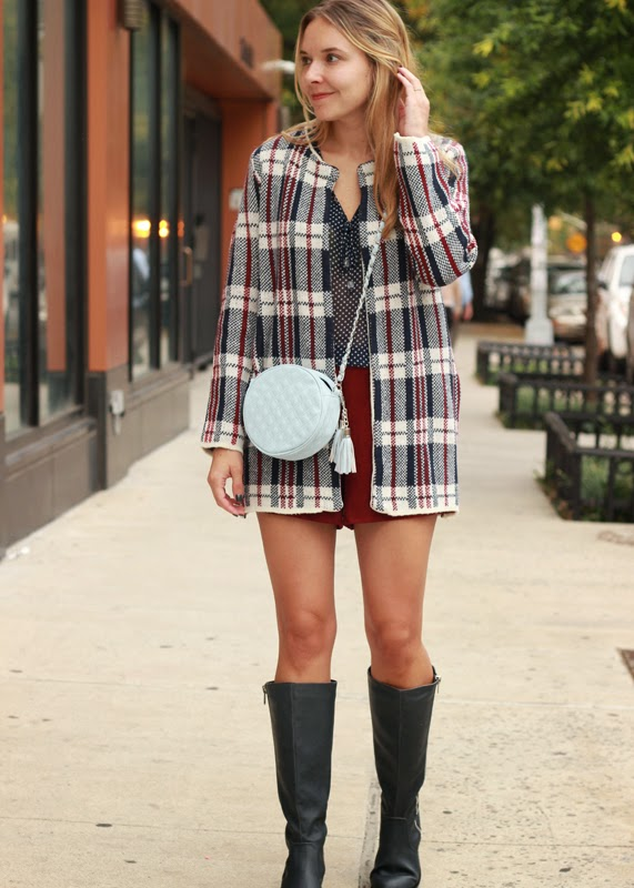 The Steele Maiden: Plaid Jacket and Polka Dots with Knee High Boots