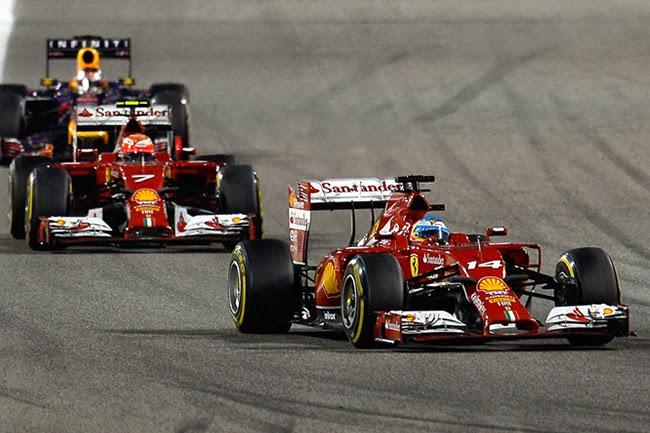 El Ferrari de Alonso y Kimi tuvo que conformarse con mirar como los demás corrían.