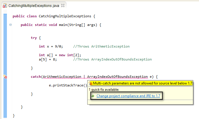 how to run exception java