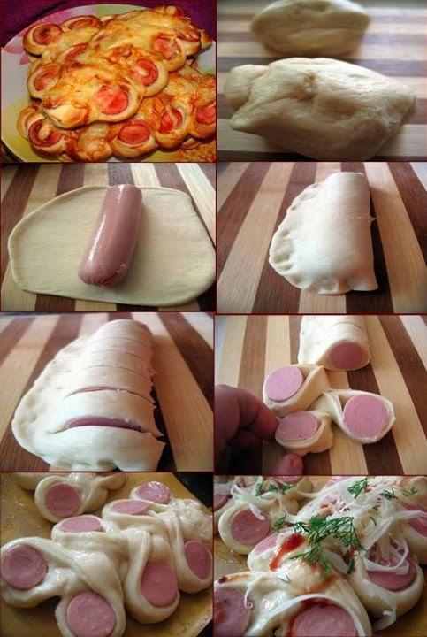 Пирожки с сосиской из слоеного дрожжевого теста рецепты
