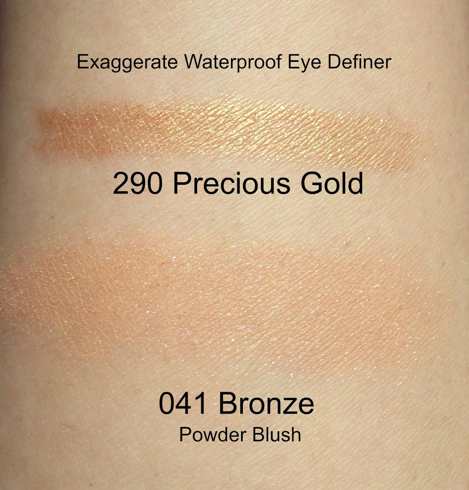 Rimmel Exxagerate eye definer swatch in precious gold and powder blush in 041 bronze