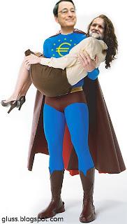 Mario Draghi sujeta a Mariano Rajoy como Superman a Lois Lane
