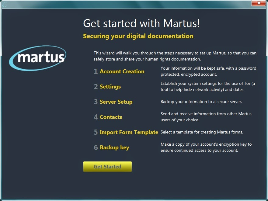 Screenshot of the new Configuration Wizard for Martus account setup, available with the newly released version 4.5 of Martus.
