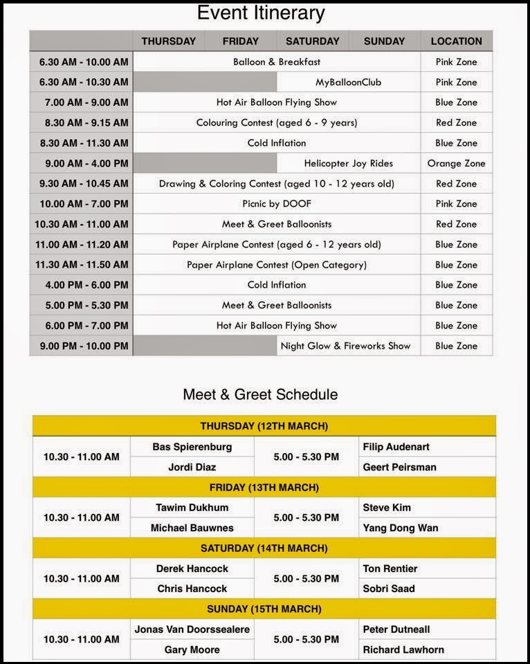 Putrajaya International Hot Air Balloon Fiesta 2015 Itinerary