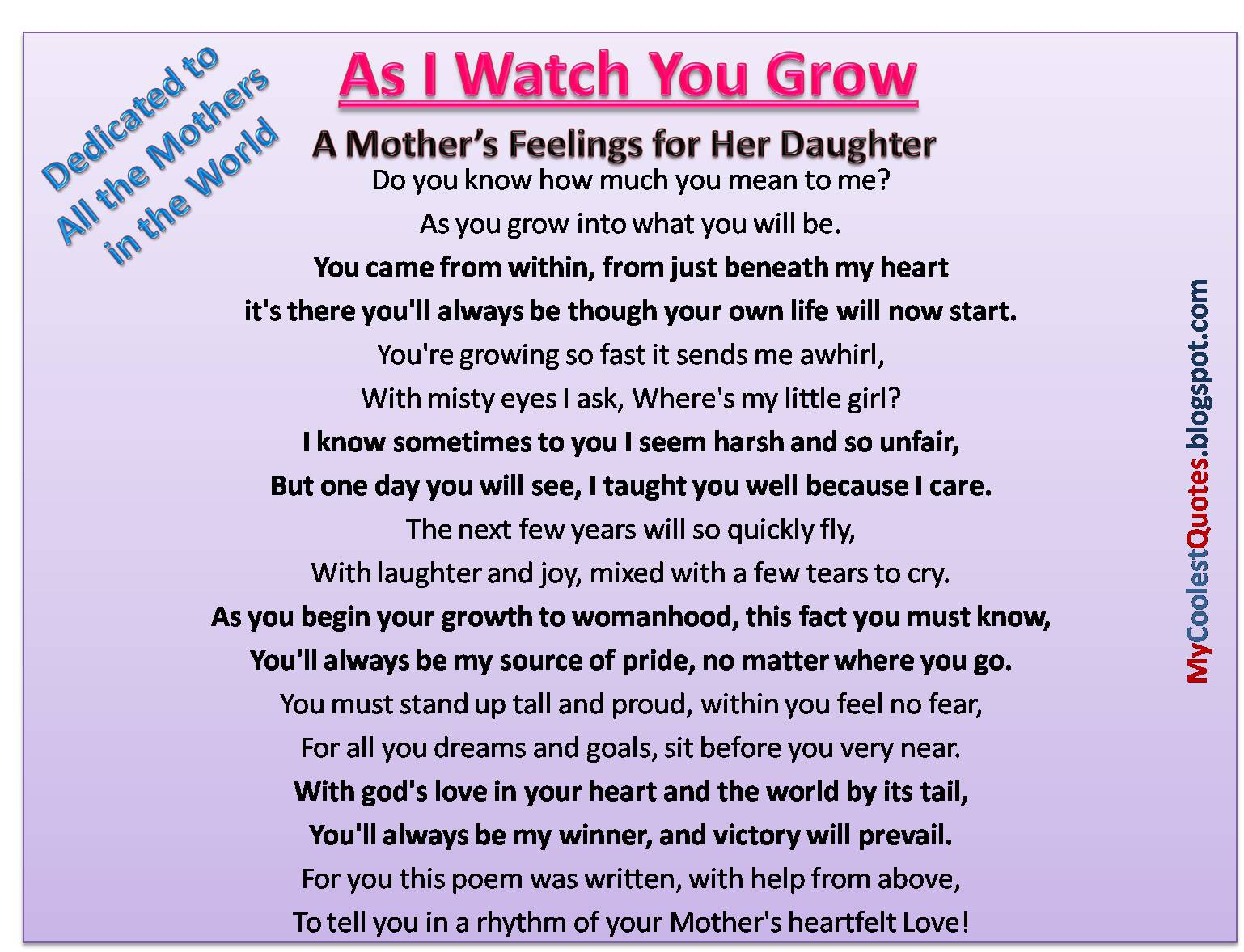 Quotes About Mother And Daughter My Coolest Quotes A Mother's Feelings For Her Daughter.