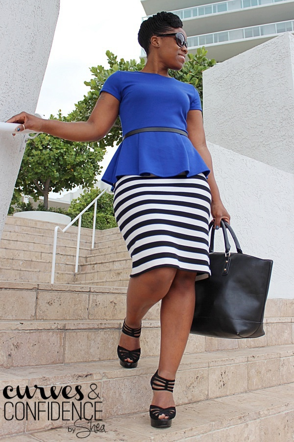 striped pencil skirt, royal blue peplum, trendy work outfit