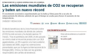 LAS EMISIONES MUNDIALES DE CO2 BATEN UN NUEVO RCORD.