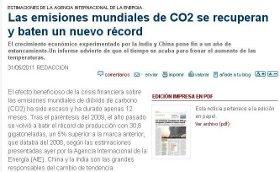 LAS EMISIONES MUNDIALES DE CO2 BATEN UN NUEVO RÉCORD.