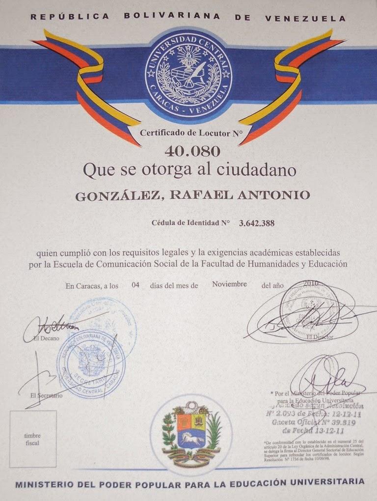 Certificado de Locutor (UCV)