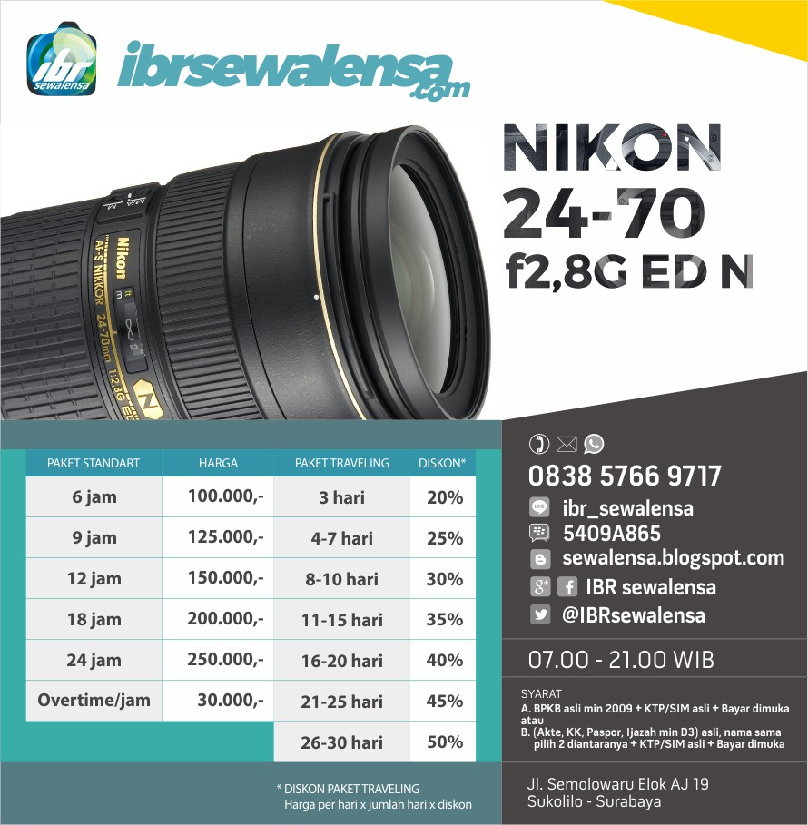 Nikon AF-S 24-70mm f2,8G ED N Harga Sewa Rental Lensa Kamera
