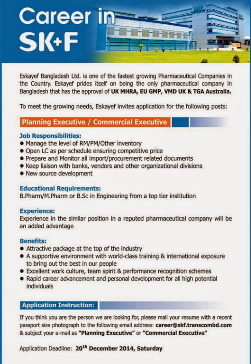 Planning Executive Commercial Executive Current Pharmaceutical Jobs