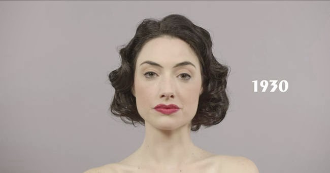 The stoic 1930s. - A Video Breaks Down 100 Years Of Beauty Trends In One Minute