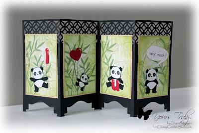 Diana Nguyen, Pandamonium, Panda, Lawn Fawn, alphabet dies, Screen card, memory box, bamboo, Impression Obsession, cutout border