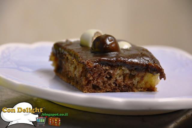 עוגת שיש וקרם שוקולד קליק Marble cake with chocolate cream