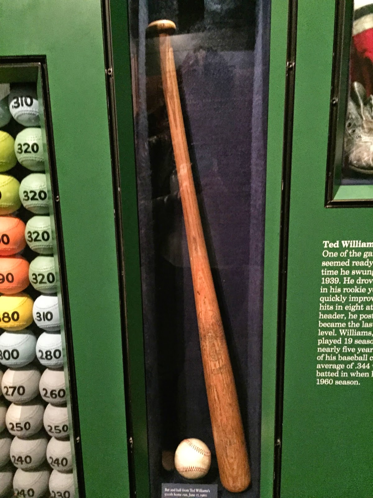 Ted Williams Bat and ball, Hall of Fame