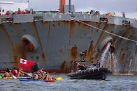 Pacific Climate Warriors in Canoes Block Coal Ships