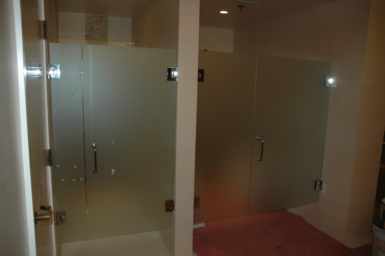 Custom Shower Doors in Spa, with Hardware and Satin Etch Glass