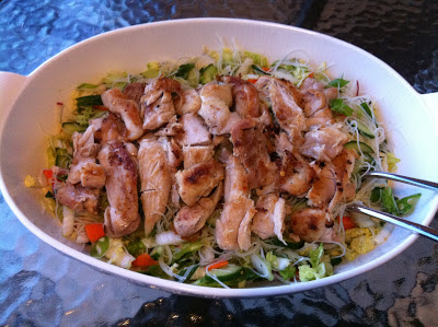 Southern Spoon blog: spicy chicken thighs with cucumber noodle salad