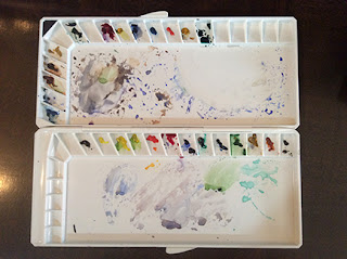 water colour palette as used by Manju Panchal