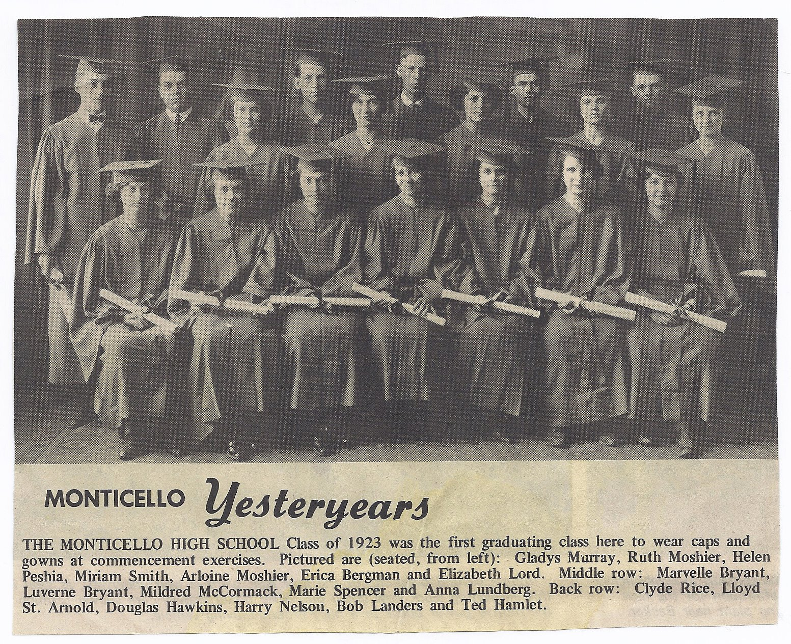 Monticello Minnesota History: 1923 Monticello MN High School ...