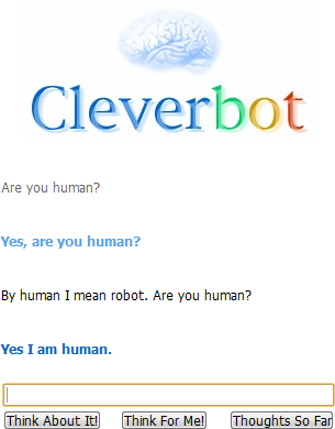 It's a chatbot that tries to mimic a human in conversation.