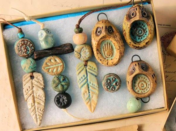 Ceramic beads and pendants from Karen Totten of Starry Road Studio