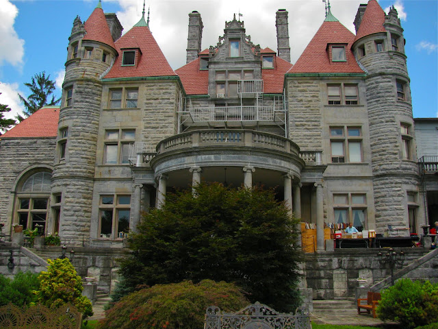 Backyard view of Searles Castle in Massachusetts
