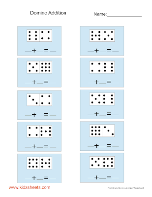 math worksheet : kidz worksheets first grade domino addition worksheet7 : Domino Addition Worksheets