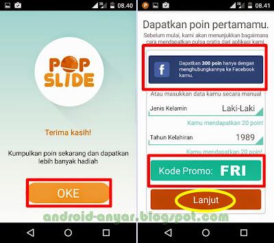 Kode promo PopSlide premium gratis pulsa 10 ribu