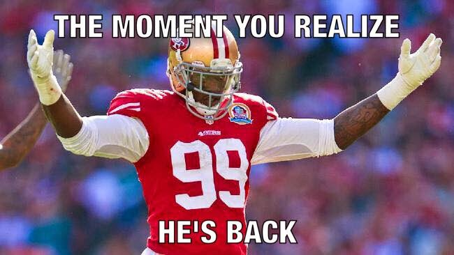 the moment you realize he's back - #49ers #Smith