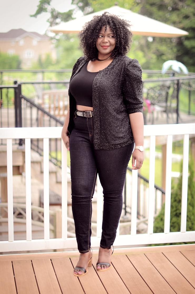 How to Wear vintage #Sequins jacket and still look chic #ootd #plussize #croptop #fashion- women #psblogger #curves