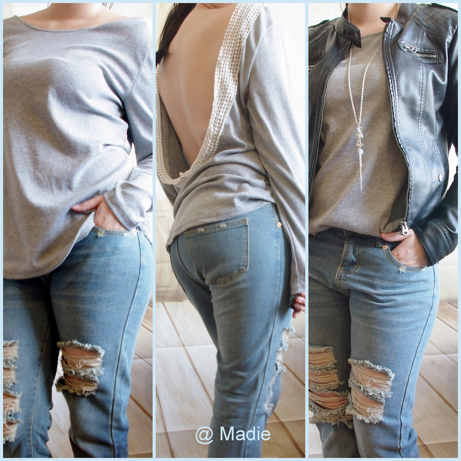 Outfit How to style a Boyfriend Jeans - Ripped Jeans and Backless Top