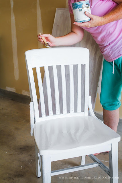 Brighten and lighten up dark kitchen chairs with chalk paint!  |  mynameissnickerdoodle.com