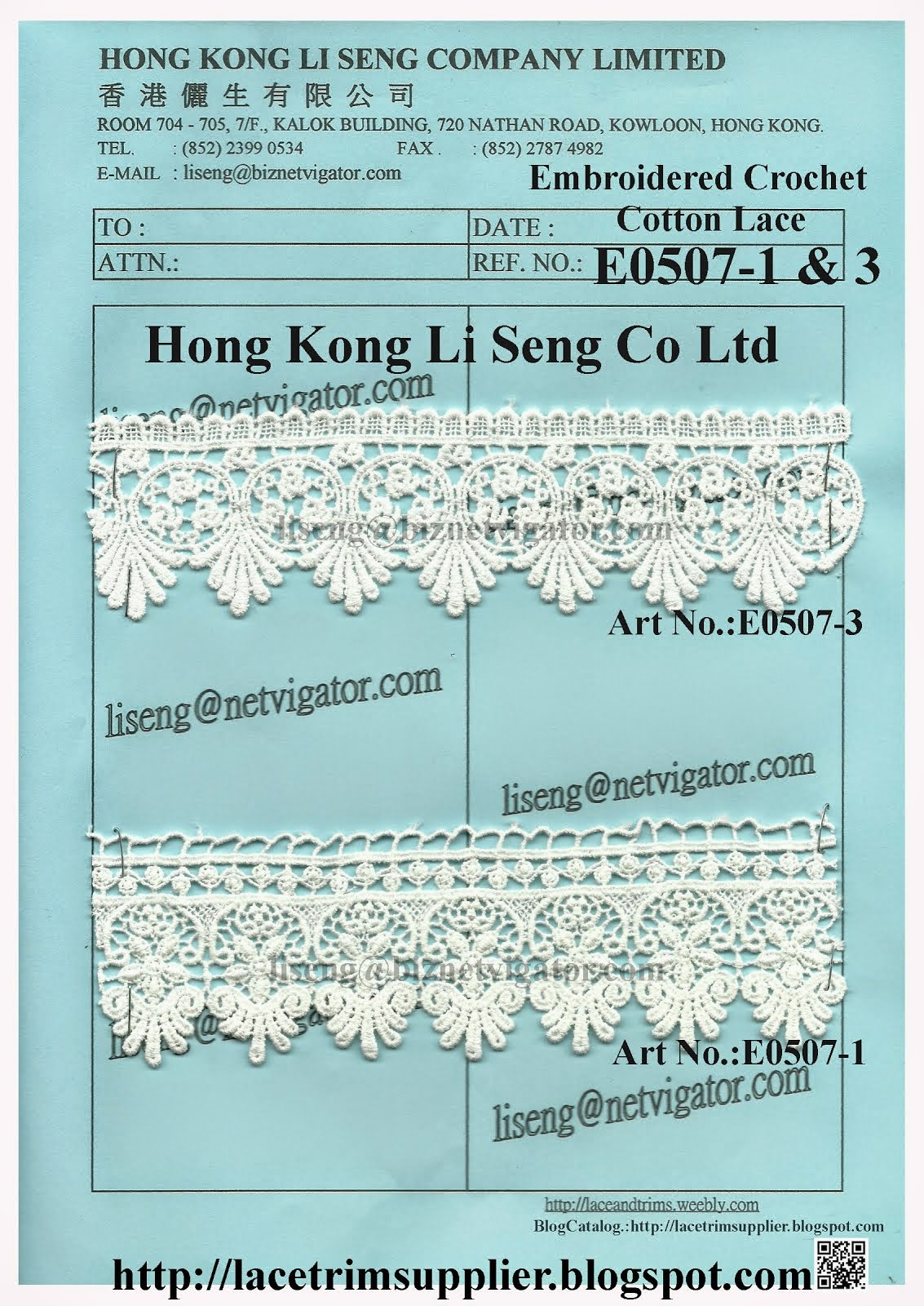 New Pattern Crochet Cotton Lace Factory - Hong Kong Li Seng Co Ltd