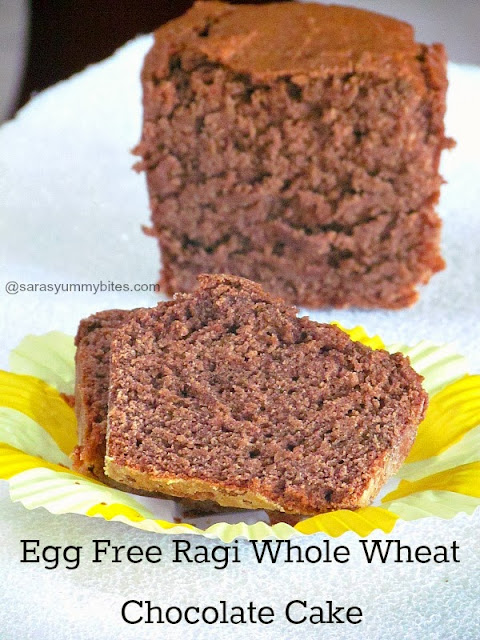 Egg Free Ragi Whole Wheat Chocolate Cake