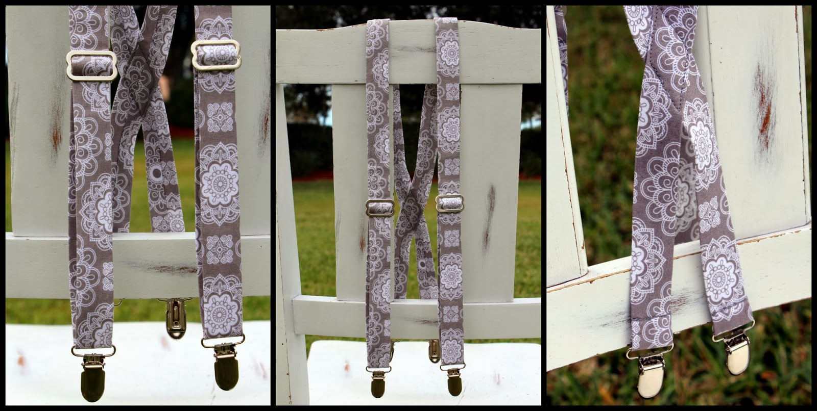 Because I'm Me gray medallion print suspenders