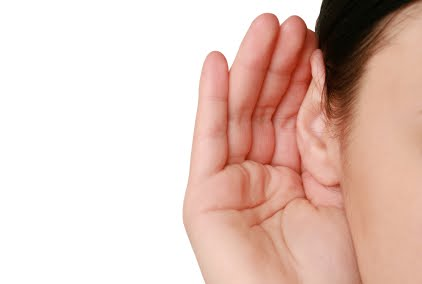 hand cupped behind an ear signifying listening