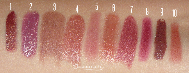 My top 10 lipsticks for fall: swatches of all shades
