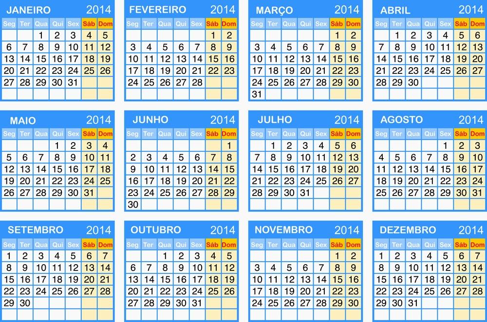 calendario 6 meses 2014