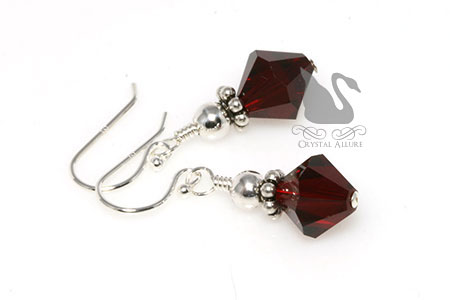 Petite Sterling Silver Red Crystal Drop Earrings