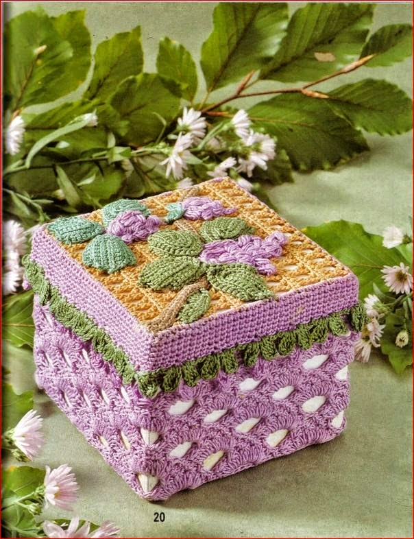 Caja decorada con crochet irlandés