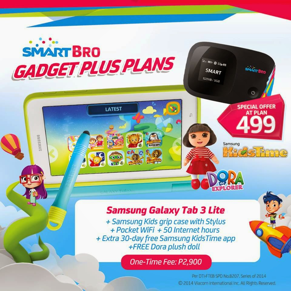 Samsung Galaxy Tab 3 Lite with Kid's Grip Case with Pocket WiFi + Dora Plush Doll with Smart Bro Gadget Plus Plan 499
