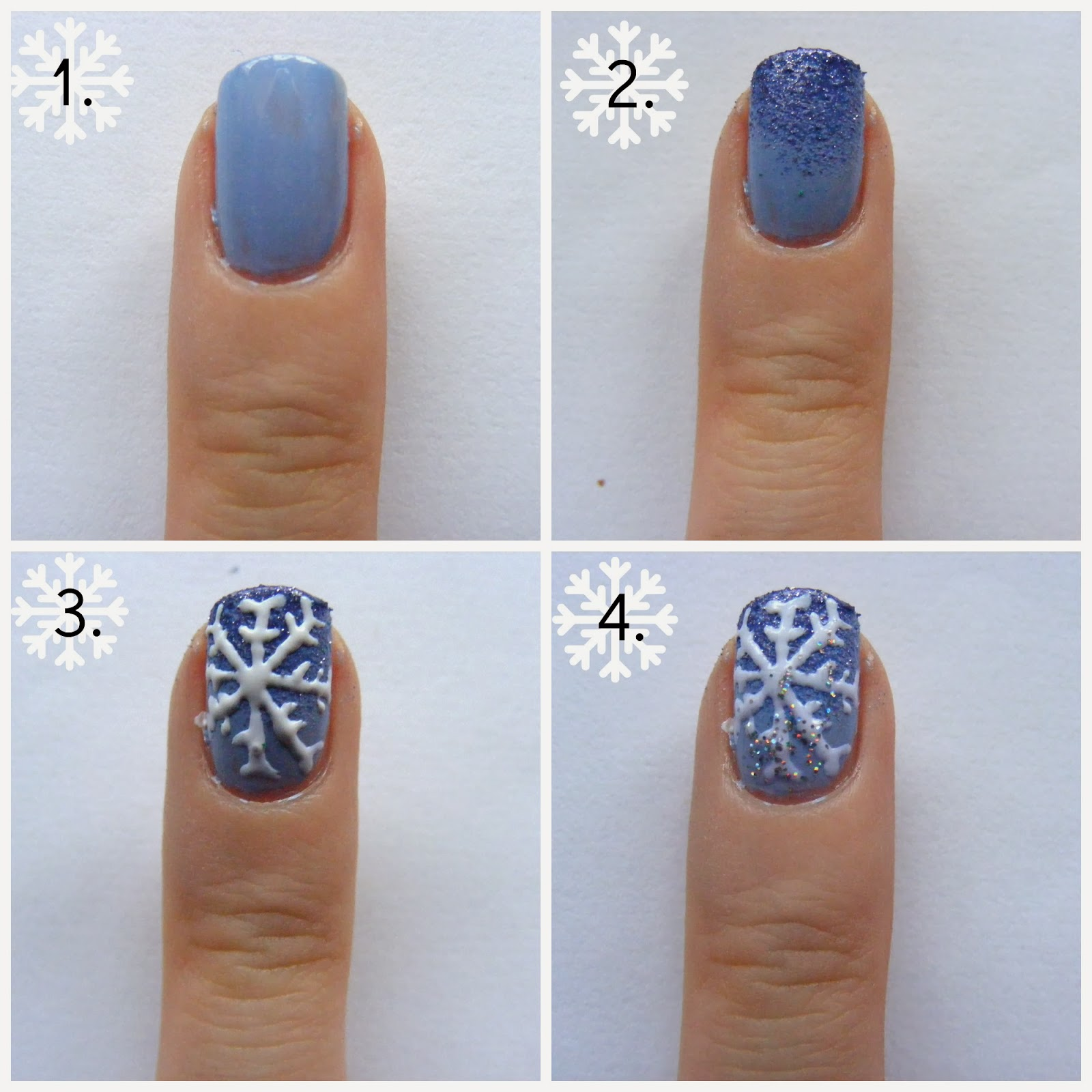 Christmas nails snowflake nail art tutorial oh hey there rachel tutorial 1 paint your nails with two coats of sky blue nail polish prinsesfo Image collections