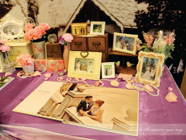 Photo Album Display Table Decoration, Wedding Decoration, purple & white wedding theme, chinese & indian wedding, elegant, modern, western, malaysia, kuala lumpur, selangor
